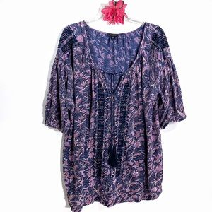 Lucky Brand purple floral embroidered peasant top